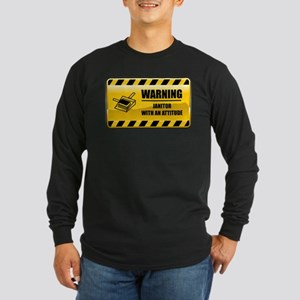 Warning Janitor Long Sleeve Dark T-Shirt