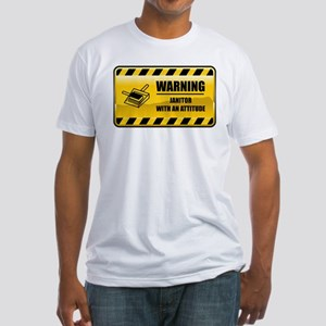 Warning Janitor Fitted T-Shirt