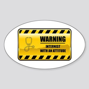 Warning Internist Oval Sticker