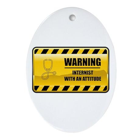 Warning Internist Oval Ornament