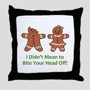 Bite Head Off Throw Pillow