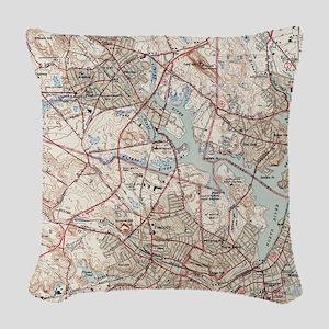 Vintage Map of Salem Massachus Woven Throw Pillow