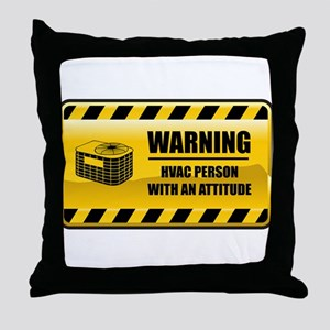 Warning HVAC Person Throw Pillow
