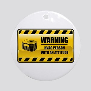 Warning HVAC Person Ornament (Round)