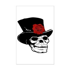 Skull with Red Rose Posters