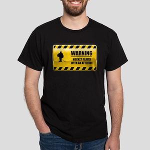 Warning Hockey Player Dark T-Shirt