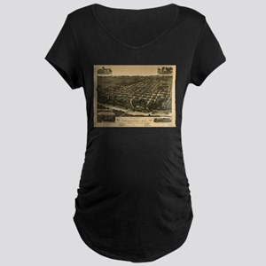 Vintage Pictorial Map of Tuscalo Maternity T-Shirt