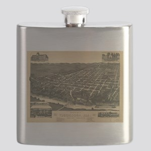 Vintage Pictorial Map of Tuscaloosa Alabama Flask