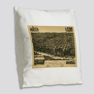 Vintage Pictorial Map of Tusca Burlap Throw Pillow