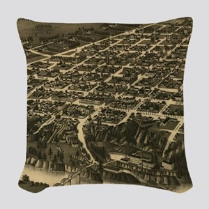 Vintage Pictorial Map of Tusca Woven Throw Pillow