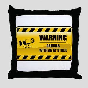 Warning Grinder Throw Pillow