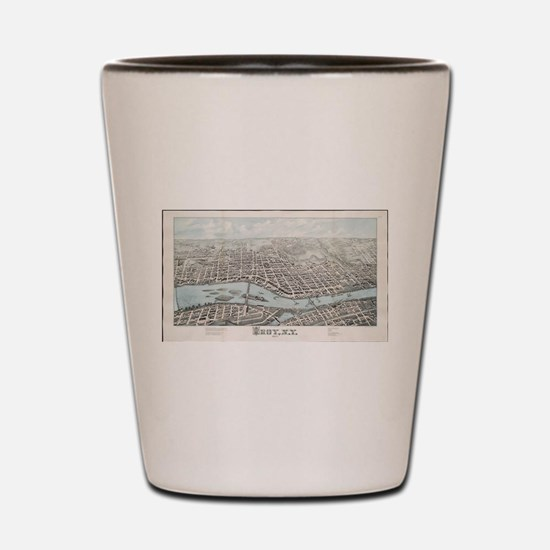Vintage Pictorial Map of Troy New York Shot Glass