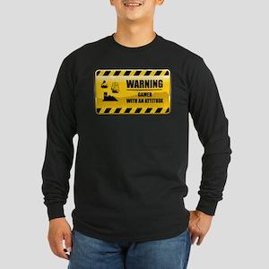 Warning Gamer Long Sleeve Dark T-Shirt