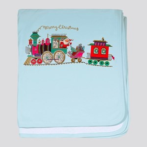 Christmas Santa Toy Train baby blanket