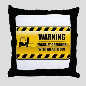 Warning Forklift Operator Throw Pillow