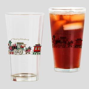 Christmas Santa Toy Train Drinking Glass