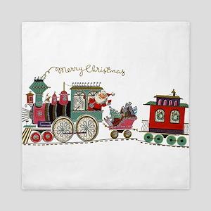 Christmas Santa Toy Train Queen Duvet