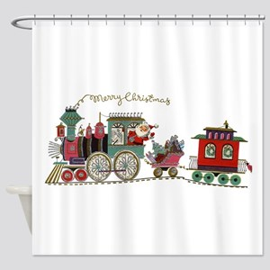 Christmas Santa Toy Train Shower Curtain