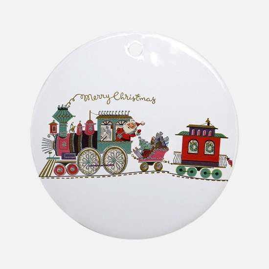 Christmas Santa Toy Train Round Ornament