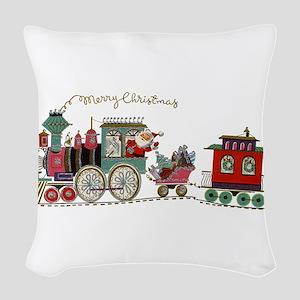 Christmas Santa Toy Train Woven Throw Pillow