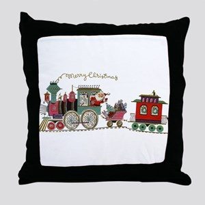 Christmas Santa Toy Train Throw Pillow