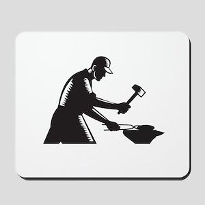 Blacksmith Worker Forging Iron Black and White Woo