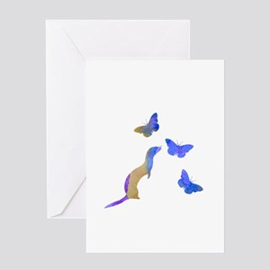 Ferret and butterflies Greeting Cards