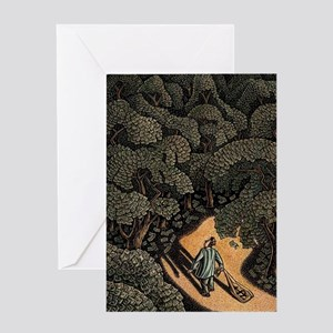 Man Looking for Money in a Forest o Greeting Cards