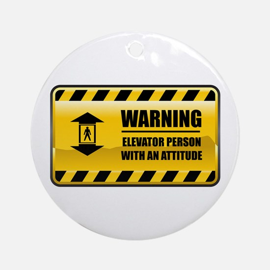 Warning Elevator Person Ornament (Round)