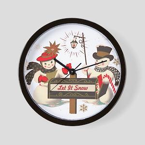 Let it snow snowman Wall Clock