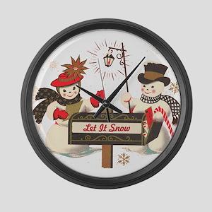 Let it snow snowman Large Wall Clock