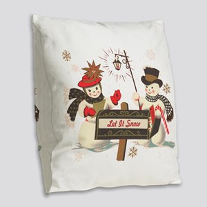 Let it snow snowman Burlap Throw Pillow