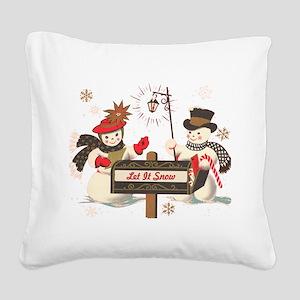 Let it snow snowman Square Canvas Pillow