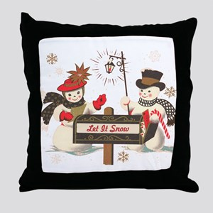 Let it snow snowman Throw Pillow