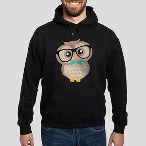 Cute Hipster Owl Hoodie (dark)