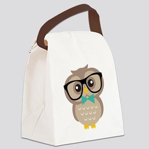 Cute Hipster Owl Canvas Lunch Bag