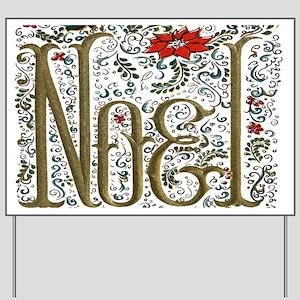 Bohemian Christmas Joyeux Noel Yard Sign