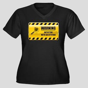 Warning Detective Women's Plus Size V-Neck Dark T-