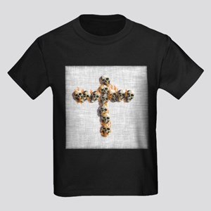 Flaming Skulls Cross T-Shirt