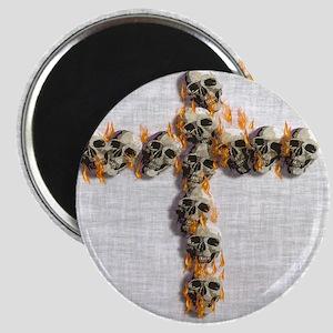 Flaming Skulls Cross Magnets