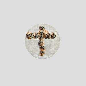Flaming Skulls Cross Mini Button