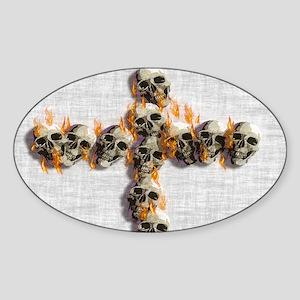 Flaming Skulls Cross Sticker