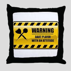 Warning Dart Player Throw Pillow