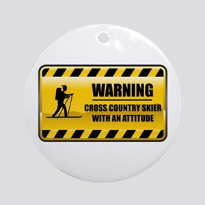 Warning Cross Country Skier Ornament (Round)
