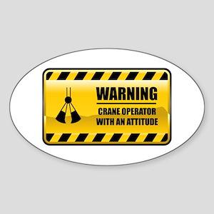Warning Crane Operator Oval Sticker
