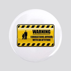 """Warning Corrections Officer 3.5"""" Button"""