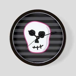 Pink Skeleton Face Stripes Wall Clock