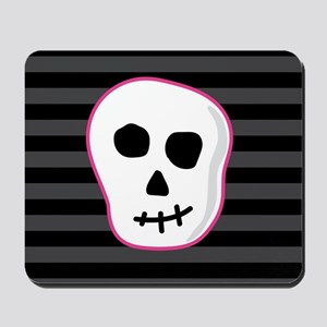 Pink Skeleton Face Stripes Mousepad