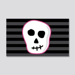 Pink Skeleton Face Stripes 20x12 Wall Decal
