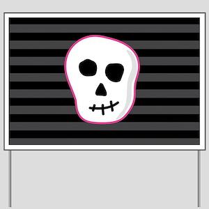 Pink Skeleton Face Stripes Yard Sign